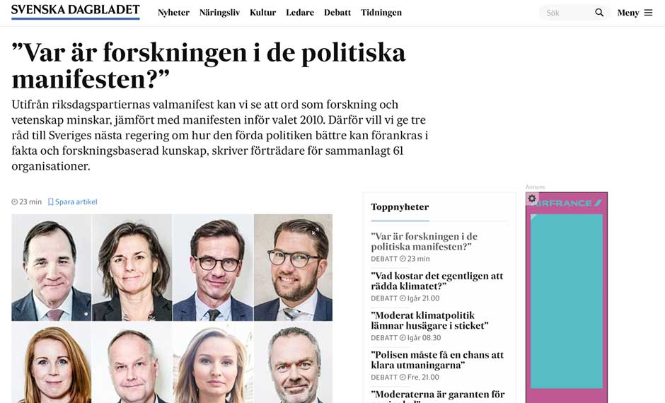 Screen shot of the debate article published by Svenska Dagbladet
